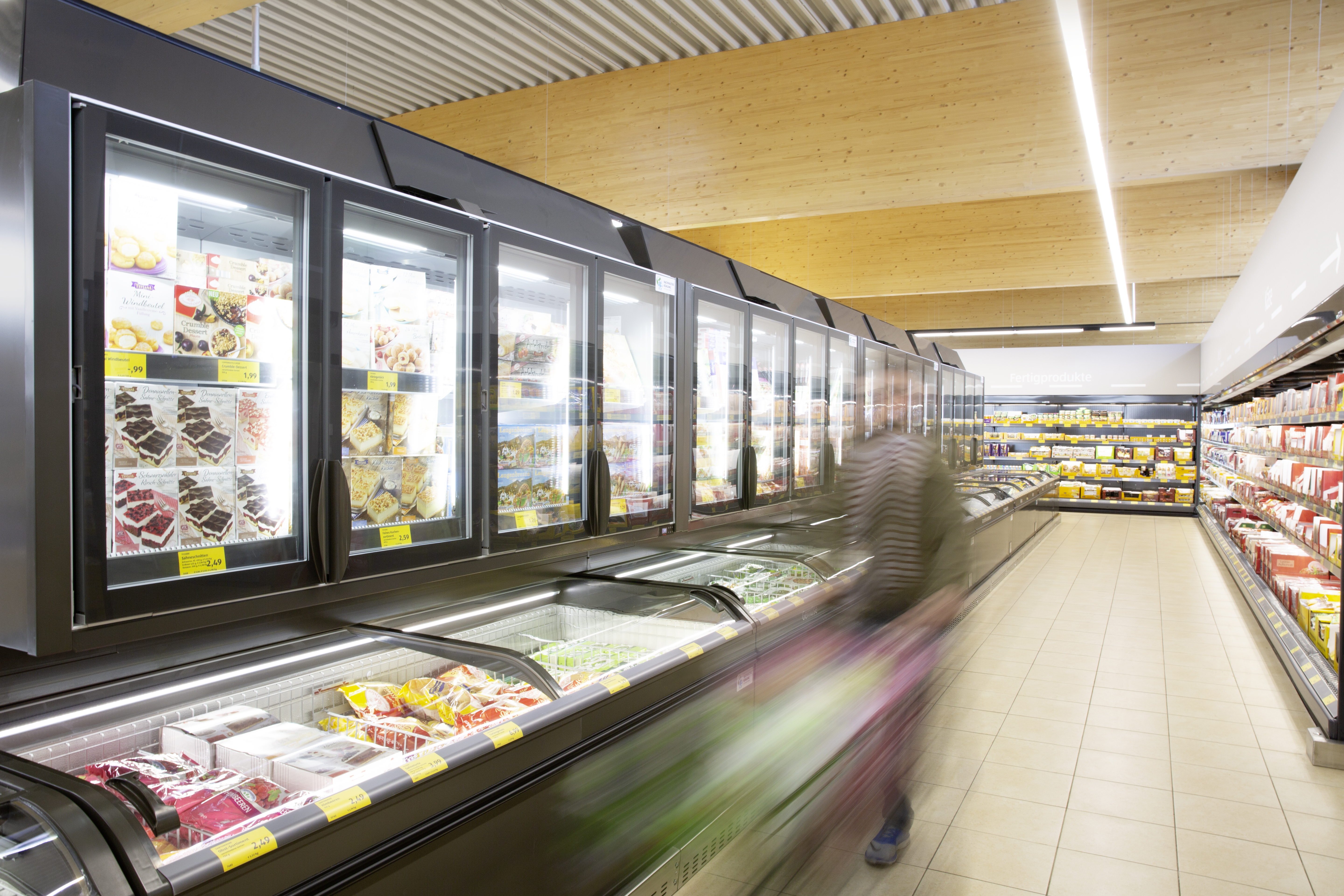 Refrigeration aisle in ALDI store